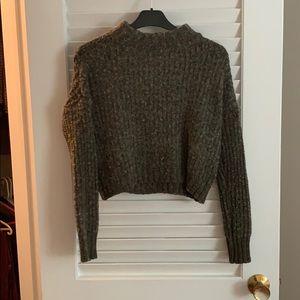 American Eagle Cropped Green Wool Sweater